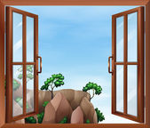 A window across the cliff — Stock Vector