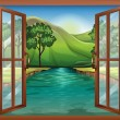 A window near the flowing river — Stock Vector #42167913