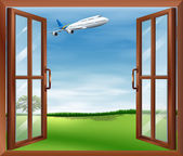 An open window with a view of the plane — Stock Vector