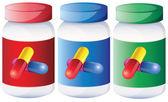 Tıp şişeler içinde kapsüller — Stok Vektör