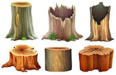 Different tree stumps — Stok Vektör