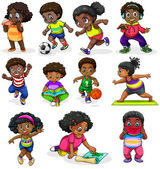 Black kids engaging in different activities — Stock Vector