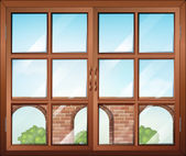 A closed window with a view of the gate — Stock Vector