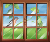 A window with a view of the bird at the stem of a plant — Stok Vektör