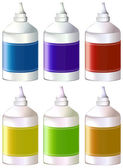 Bottles of colorful inks — Stock Vector