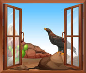 An open window with a view of the bird above the rock — Stock Vector