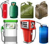 Different fuel containers — Vector de stock