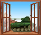 A tank near the window — 图库矢量图片
