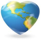 A heart-shaped globe — Stock Vector