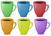Colorful mugs with coffee — Stock Vector