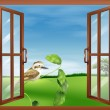 A window with a view of the bird outside — Stock Vector