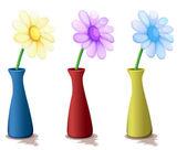 Colorful vases with flowers — Stock Vector