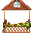 A wooden porch with plants — Stock Vector