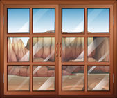 A closed window at the desert — Stock Vector