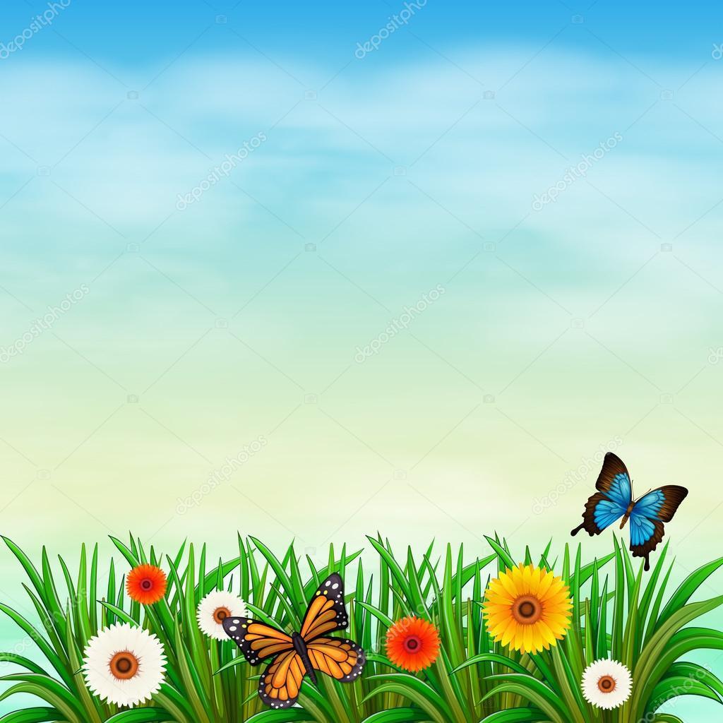 imagens jardim florido:Um jardim de flores com borboletas — Vetor de Stock © blueringmedia