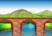 A bridge across the mountains — Stock Vector