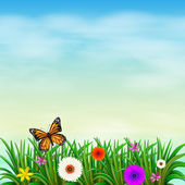 A garden with fresh flowers and a butterfly — Stock Vector