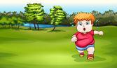 A boy jogging near the river — Stock Vector