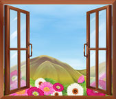An open window with flowers outside — Stock Vector