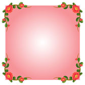 A pink empty border template with flowers — Stock Vector