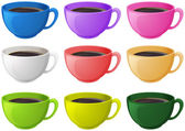 Colourful cups with coffee — Stock Vector