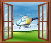 A helicopter outside the window — Stock Vector