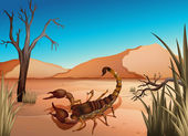 A desert with a scorpion — Stock Vector