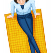 A topview of a girl above the mat — Stock Vector #47523539