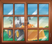 A closed window with a bulldozer — Stock Vector