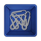 A topview of the paperclips inside a container — Stock Vector