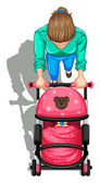 A topview of a mother pushing a stroller with a baby — Stock Vector