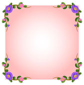 An empty pink template with floral margin — Stock Vector