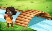 A Black little girl near the bridge — Vector de stock