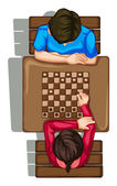 A topview of two people playing a boardgame — Stock Vector