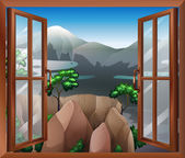 An open window with a view of the cliff — Stock Vector
