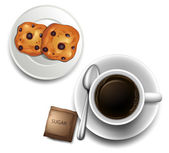 A topview of a cup of coffee and a plate of cookies — Stock Vector