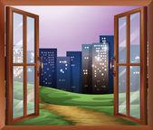 Okno s výhledem na vysokých budov — Stock vektor