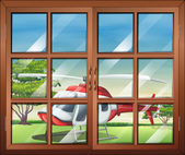 A closed window with a view of the chopper outside — Stock vektor