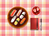 A table with sushi, a cocktail drink, a ballpen and a notebook — Stock Vector