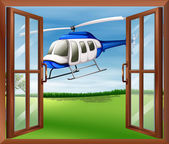 A window with a view of the chopper outside — Vector de stock