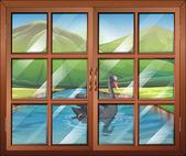 Une fenêtre avec vue sur la rivière à l'extérieur — Vecteur