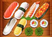 Different flavors of sushi — Vector de stock