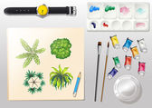A topview of the materials for painting and a watch — Vecteur