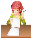 A woman taking an exam — Stock Vector