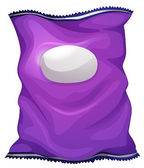 A purple bag with an empty label — Vector de stock