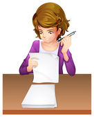 A young woman taking an exam — Stock Vector