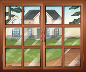 A closed window with a view of the house outside — Stock Vector