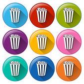 Popcorn icons — Stock Vector
