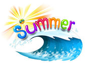 A beautiful summer at the beach — Stock Vector