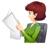 A woman reading a tabloid — Stock Vector